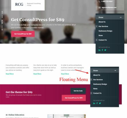 ConsultPress Navigataion and Header for Business Website