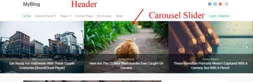 MyBlog Header Carousel Slider