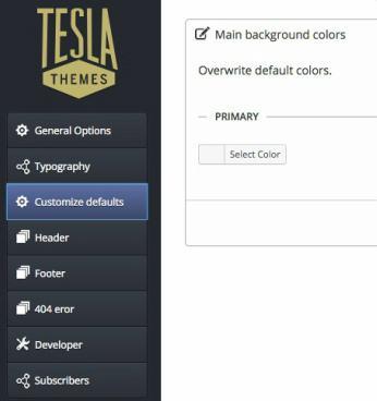 Unik Tesla Framework Options Panel