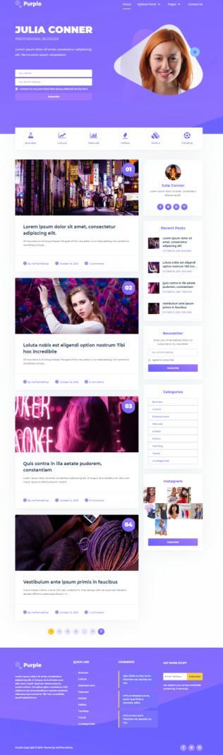 Purple Demo MyThemeShop - Pretty Chic Blog Theme
