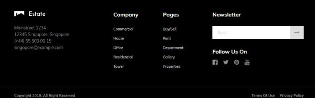 Footer Widgets - Property Listing Theme