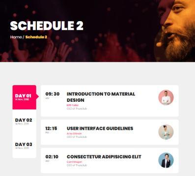Schedule Page - Eventco Event Theme
