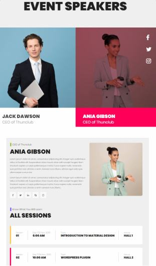 Speakers List and Single Profile Page - Themeum