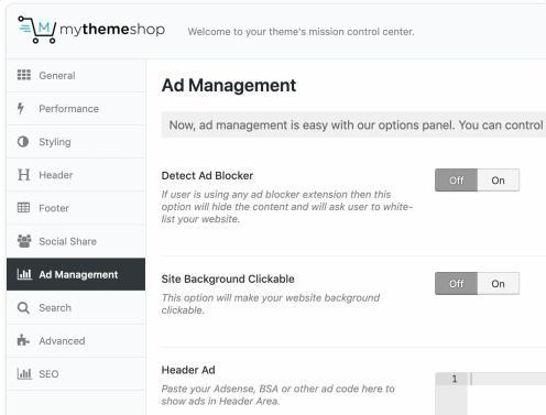 Ad Management Options Panel