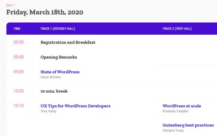 Sessions For Schedule Listing - Conference Theme