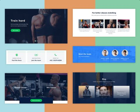 Fitness HomePage Sections