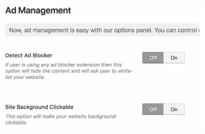 Advertisement Options - Blocks Theme