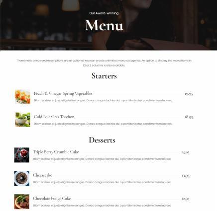 Food Menu Page - Restaurant Theme CSSIgniter
