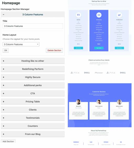 HomePage Sections - Startup Review