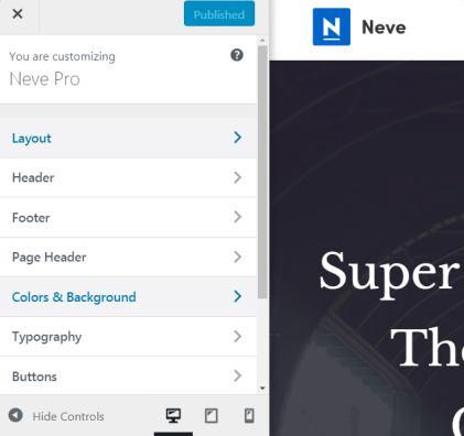 Neve Customizer Options