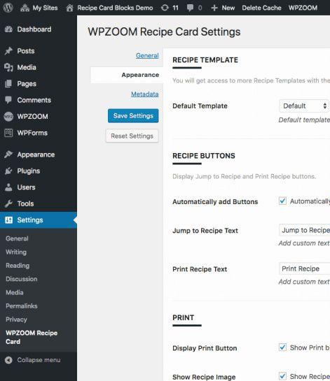 Recipe Template Options - Recipe Card Blocks
