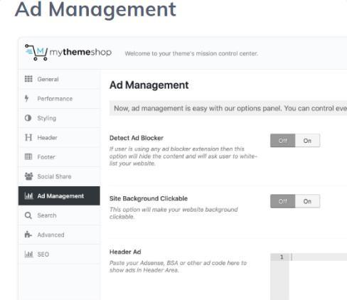 Ad Management Options - Pets MyThemeShop