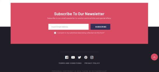 Footer Subscription Box and Social Nav Bar - Personal