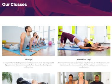 Classes Page for Yoga and Gyms - Vigour Theme