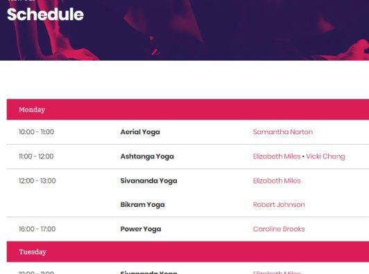 Schedule for Workout Classes - Vigour
