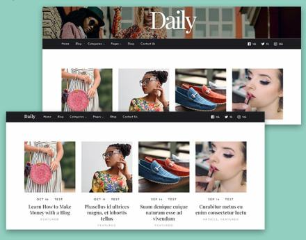 Dual Header Layouts - Daily WP Blogging Theme