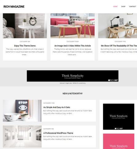 Homepage Layout - Rich Magazine
