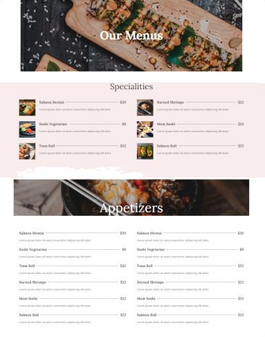 DinePress Food Menu for Restaurant Business