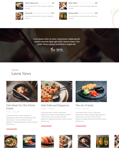 DinePress - Home Featured Sections