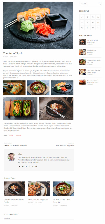 DinePress Single Post Features