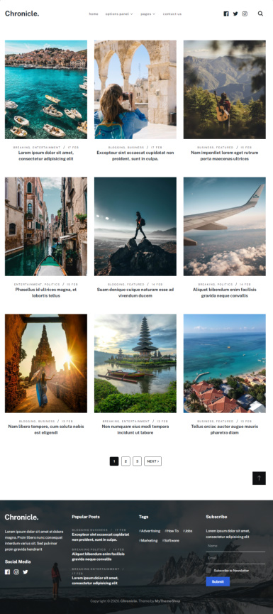 Chronicle WordPress Travel Blog Theme - Mythemeshop