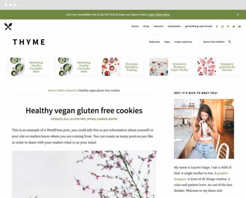 Thyme Recipe Blog Layout