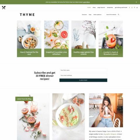 Thyme Theme - Restored 316 Genesis Food Blogging Theme