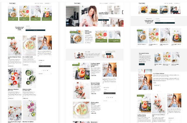 Thyme - Three Home Page Designs