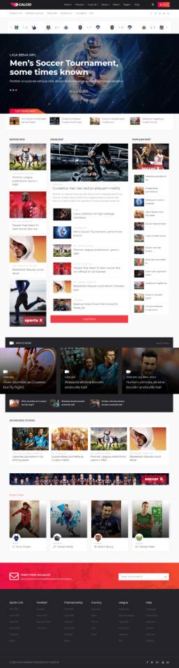 Calcio Homepage - Sports Magazine Theme