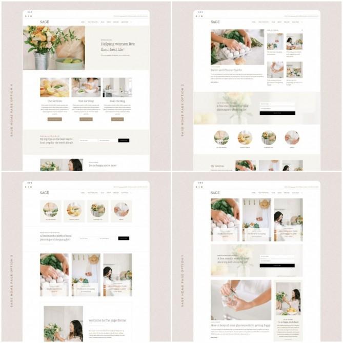 4 Homepage Layouts - Sage Theme