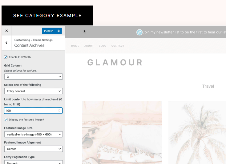 Category Page Options - Glamour Theme