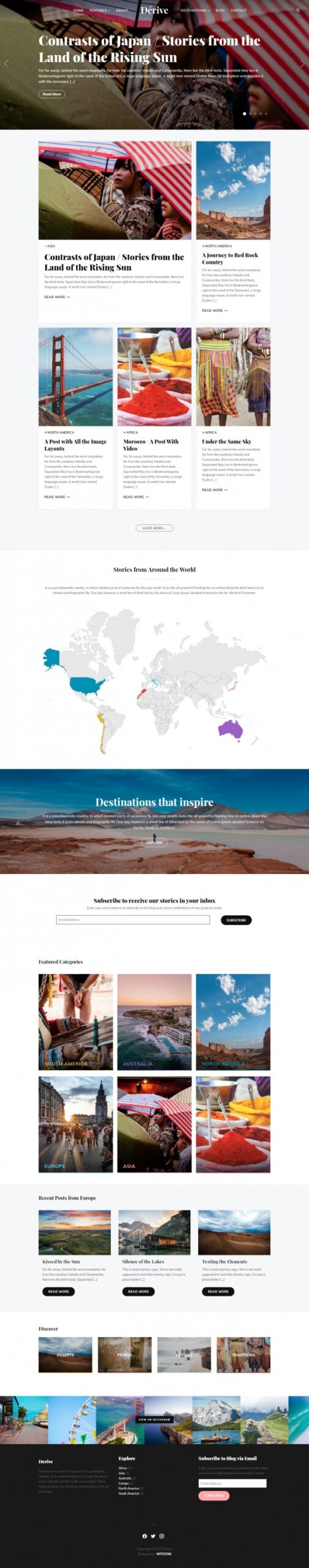 Dérive - WPZOOM Travel Photography WordPress Blogging Magazine Theme