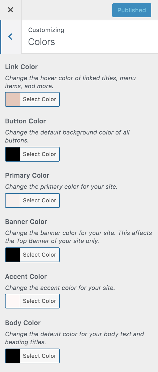Glamour Color Customizer Options