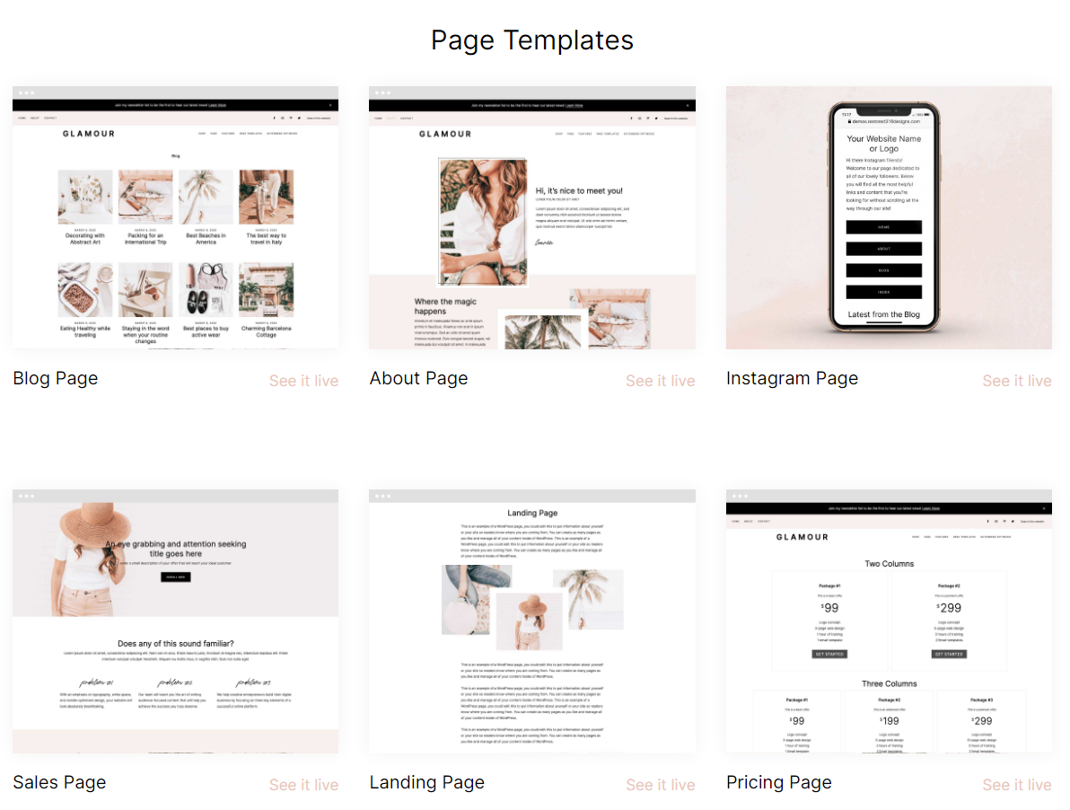 Glamour Page Templates - Restored 316