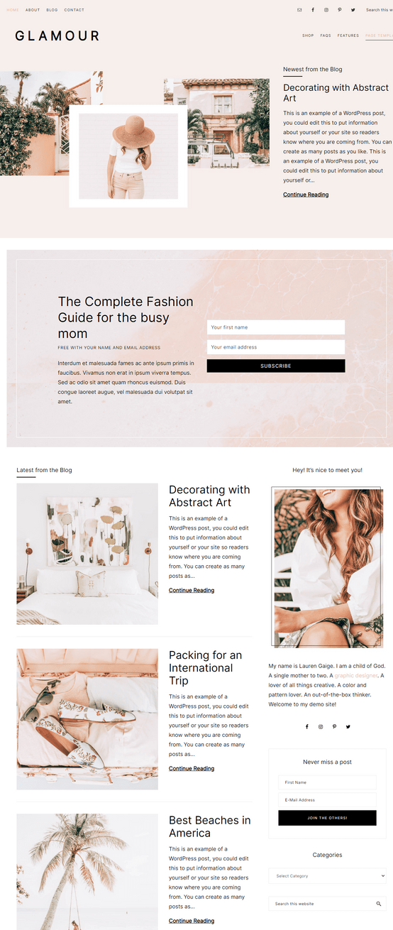 Glamour Theme Demo Review - Restored 316 For Bloggers