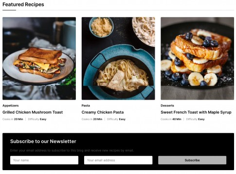 Gourmand Featured Homepage