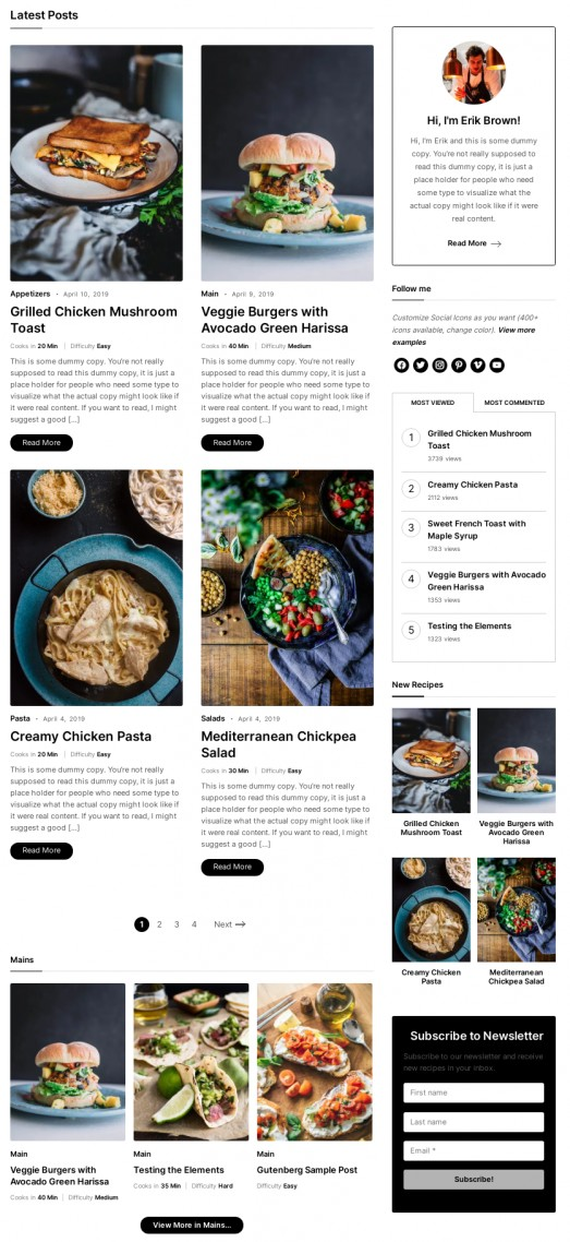 Gourmand - Latest & Featured Posts on homepage