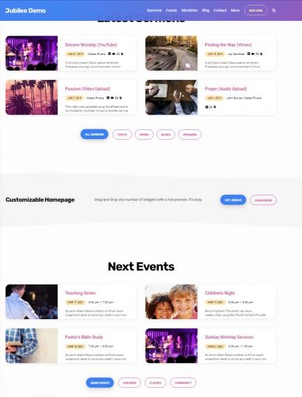 Jubilee Homepage Widgets