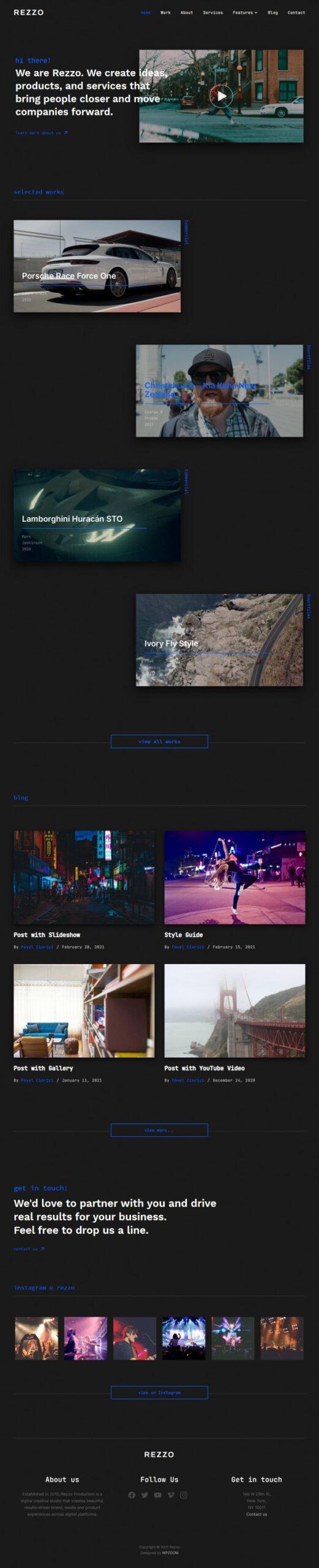 Rezzo - Video Portfolio WordPress Theme by WPZOOM