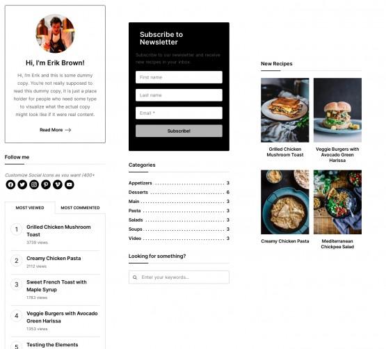 Sidebar Widgets - WPZOOM Gourmand