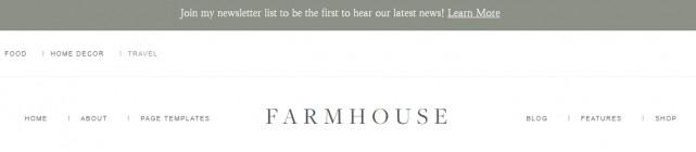 Header Announcement Bar & Menu - Farmhouse