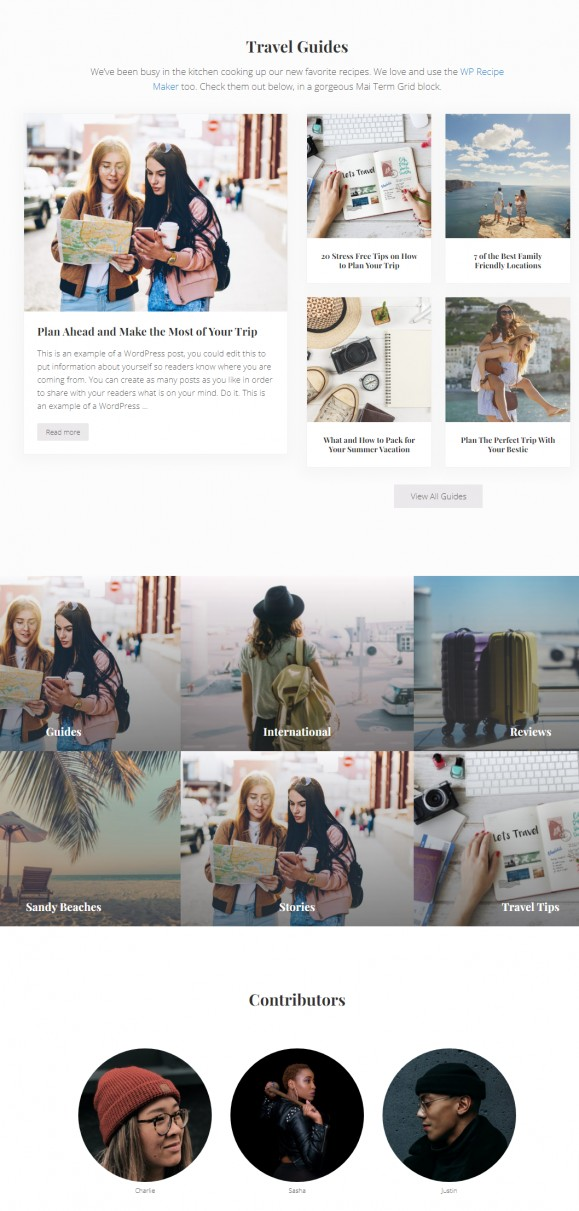 Homepage Preview - Mai Delight Travel Blog Theme