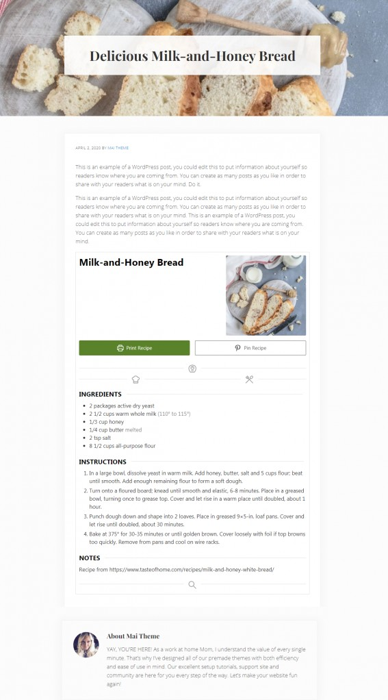 Recipe Single Post - Mai Delight Food Blog Theme