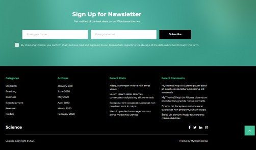 Newsletter Subscribe Box & Footer - Science Theme