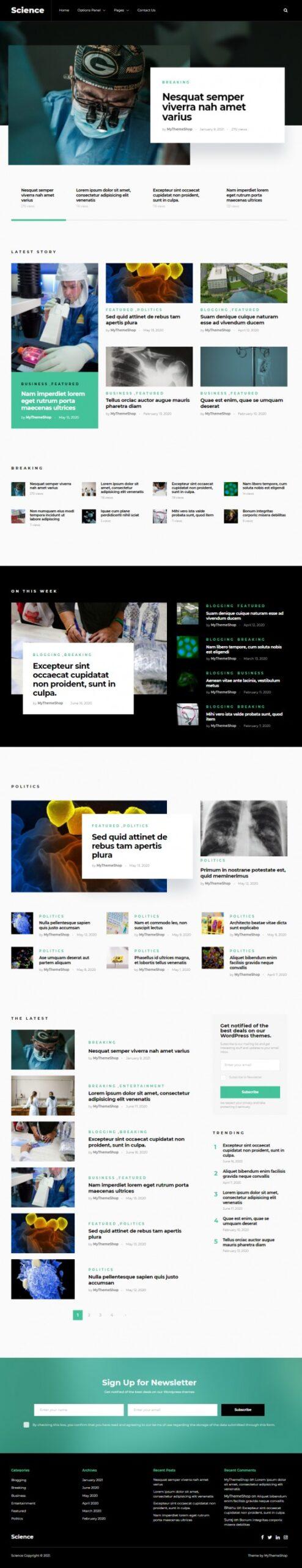 Science Demo - MyThemeShop Health Medicine Blog Theme